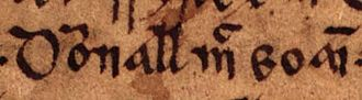 Dyfnwal ab Owain - Image: Dyfnwal ab Owain (Oxford Bodleian Library MS Rawlinson B 488, folio 15r)