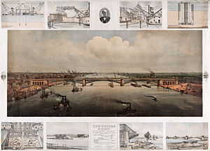 Eads Bridge - Poster showing the construction of the bridge in different phases, ca. 1874.