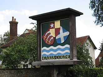 De Vere family - The family's coat of arms on a sign in the village of Earls Colne, Essex
