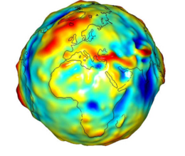 Image of globe combining color with topography.