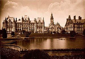 Hugh Grosvenor, 1st Duke of Westminster - Eaton Hall as designed by Alfred Waterhouse