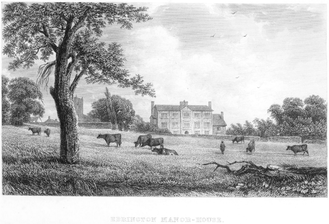 Ebrington Manor - Ebrington Manor House, west front, 19th century engraving. St Eadburgha's Church, the parish church of Ebrington, is visible at left