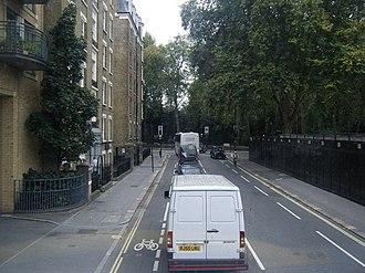 Chelsea Bridge Road - Ebury Bridge Road, looking towards Chelsea Bridge Road, with Ranelagh Gardens beyond.
