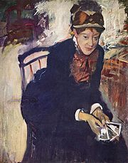 Degas, Portrait of Miss Cassatt, Seated, Holding Cards, c. 1876-1878, oil on canvas