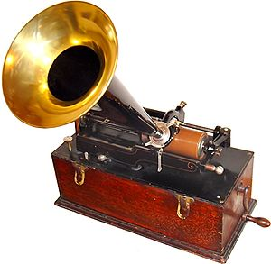 Data storage - Edison cylinder phonograph c. 1899. The phonograph cylinder is a storage medium. The phonograph may be considered a storage device.