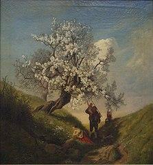 Frühlingslandschaft mit blühenden Bäumen