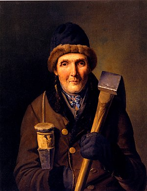 Oil painting of an old lumberjack. Painted by Eduard Ritter