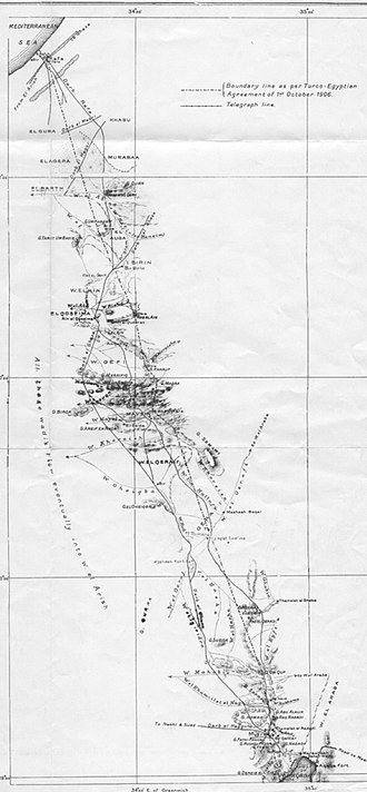 Borders of Israel - Egypt Ottoman border 1906, as depicted in the 1907 Survey of Egypt