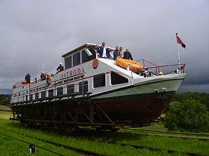 "Elbląg Canal - Ship ""Ostróda"" on crossing"