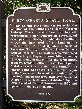 Elroy-Sparta State Trail - Historical marker along the trail.