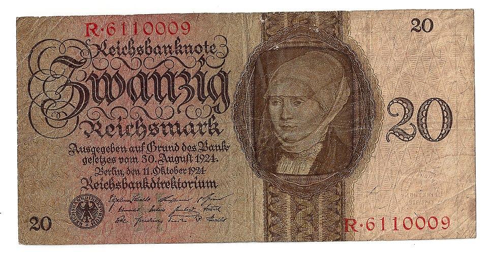 Elsbeth Binsenstock @ Banknote 20 Reichsmark 1924