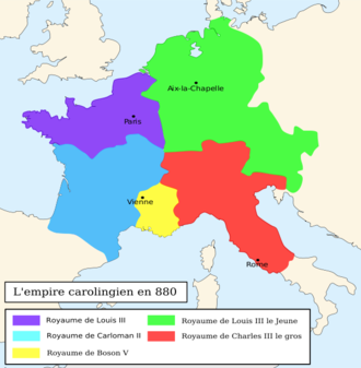 Carloman II - The realm of Carloman II after the division of the Carolingian Empire in March 880 is shown in blue