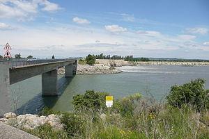 Gardon - Confluence of the Gardon and the Rhône River at Comps