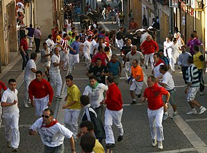English: Running of the bulls in Cuéllar, Sego...
