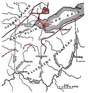 lacustrine plain that borders Lake Erie in North America