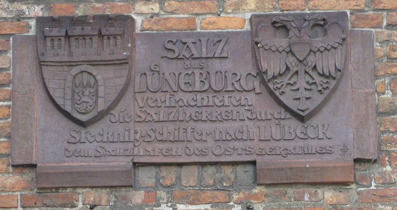 Plaque salt trade to the salt warehouses of Lübeck.  Exploring Germany's Old Salt Road