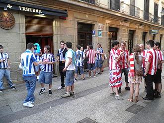Basque derby - Rival supporters socialising together pre-match in San Sebastián, October 2011