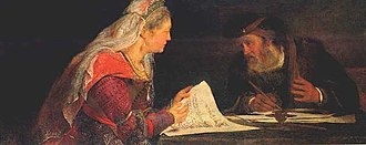 Honour thy father and thy mother - Esther and Mordecai writing the second letter of Purim. Arent de Gelder, ca. 1685. Oil on canvas, RISD Museum of Art, Providence RI