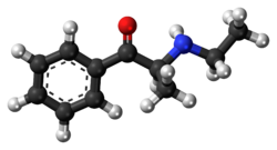 Ball-and-stick model of the ethcathinone molecule