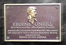 Photo of Eugene O'Neill brown plaque