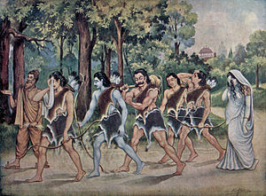 Vana Parva - The Pandavas go into exile (pictured) for 13 years - the first 12 years in forest, the last year incognito. Aranya Parva describes the first 12 years of the exile.