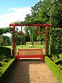 Eyrignac Manor-red bench.JPG