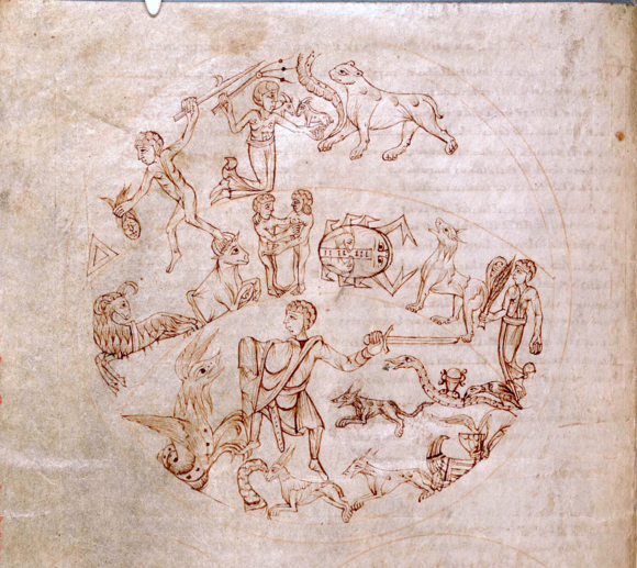 Southern hemisphere constellations from a western scientific manuscript c.1000 F3.v. Southern hemisphere constellations - NLW MS 735C.png