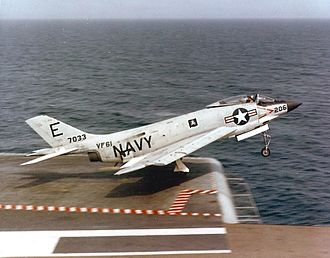 VF-61 - Image: F3H 2M of VF 61 takes off from USS FD Roosevelt (CVA 42) in 1957