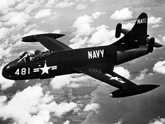 Vought F6U Pirate - Image: F6U 1 Pirate NATC in flight
