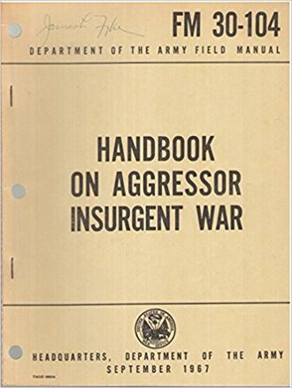 Psychological Operations in Guerrilla Warfare - Cover of the US Army's Handbook on Aggressor Insurgent War (1967)