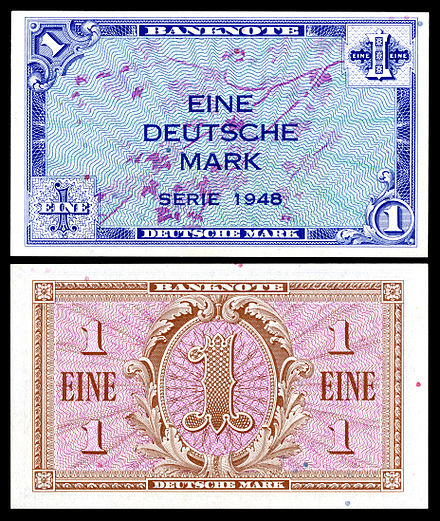 One Deutsche Mark (1948), first series, Allied military issue FRG-2a-Allied West Germany-1 Deutsche Mark (1948).jpg