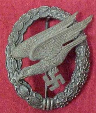 """Fallschirmjäger (World War II) - German Luftwaffe """"Fallschirmjäger"""" Paratrooper's badge issued in 1941"""