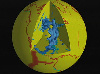 Geology - In this diagram, subducting slabs are in blue and continental margins and a few plate boundaries are in red. The blue blob in the cutaway section is the seismically imaged Farallon Plate, which is subducting beneath North America. The remnants of this plate on the surface of the Earth are the Juan de Fuca Plate and Explorer Plate, both in the northwestern United States and southwestern Canada, and the Cocos Plate on the west coast of Mexico.