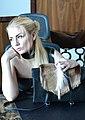 Fashion Designer Diana Von Gruning Holding her bag during an interview.jpg