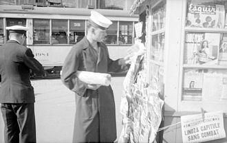 Kiosk - Newsstand in Rosemont, Montreal, 1943.