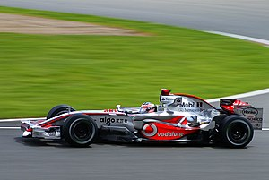Fernando Alonso driving for McLaren at the 200...