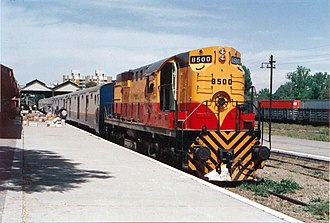 Ferrocarriles Argentinos - El Aconcagua long distance train at Mendoza station, 1990.