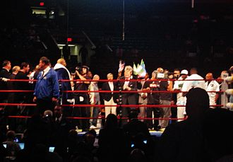 Jameel McCline - Jimmy Lennon, Jr. making the fighter introductions before the Samuel Peter fight at the Madison Square Garden in October 2007.