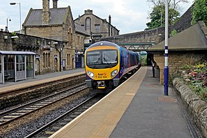 First TransPennine Class 185, 185150, Mossley railway station (geograph 4005256).jpg