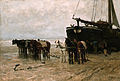 Fishing boat and draught-horses on the beach, by Anton Mauve.jpg