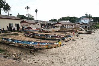 Geography of the Gambia - Image: Fishing boats in Bakau, Gambia, October 2006