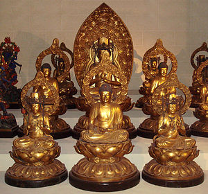 Japanese Buddhist pantheon - The five Wisdom Buddhas, guarded by four Great Diamond Bodhisattvas at the corners. The Buddha at the front is at the South and is Ratnasambhava.