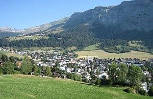 """Flims - Flims Dorf under """"Flimserstein"""""""