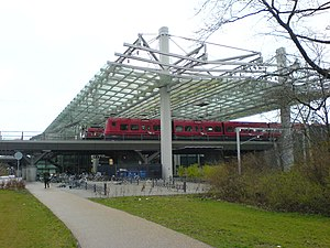 M2 (Copenhagen) - Flintholm, with the red S-trains on the top