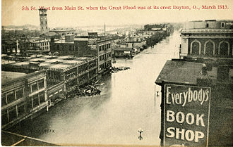 Great Dayton Flood - Postcard showing Fifth Street looking west from Main Street on March 26, 1913, when the flood was at its crest.