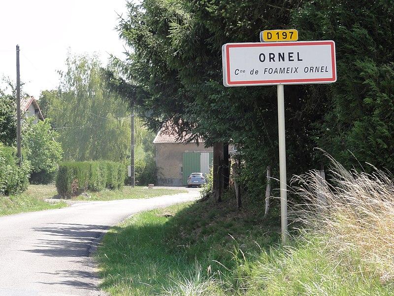 Foameix-Ornel (Meuse) city limit sign Ornel