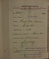 Fong Po Sun Auckland Chinese poll tax certificate butts Certificate issued at Auckland.jpg