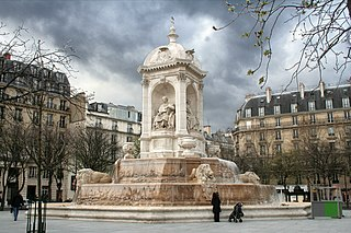 Fontaine Saint-Sulpice fountain in Paris, France