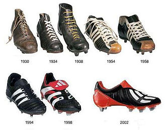 Football boots evolution from 1930 to 2002.