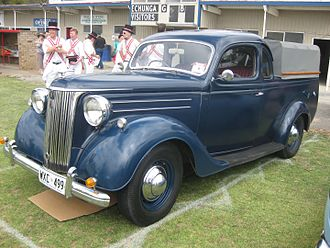 Ford Pilot - Ford V8 Pilot coupe utility. This body style differs from the pick-up in terms of roofline, side windows and integration of the rear bodywork